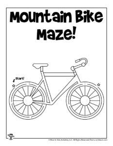 Easy Mountain Bike Maze Activity Page
