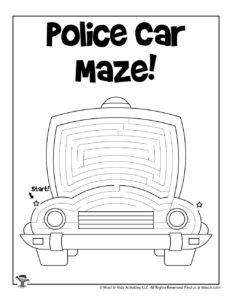 Free Printable Police Car Maze for Kids