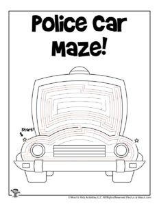 Police Car Transportation Worksheets for Kids - KEY
