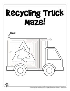 Recycling Truck Printable Transportation Worksheets - KEY