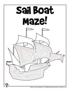 Sail Boat Maze Activity Printable - KEY
