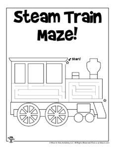 Steam Train Transportation Activity Pack for Kids