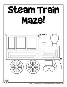 Easy Steam Train Maze Puzzle - ANSWER KEY