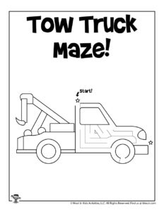 Tow Truck Transportation Worksheet for Kids to Print