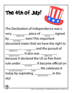 4th of July Fill In Story
