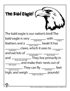 Bald Eagle Fill in Word Game