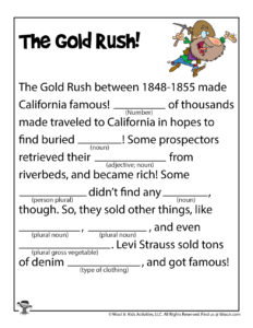 Gold Rush Fill in the Blank Story