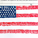 American Flag Art Project in Pointillism Style