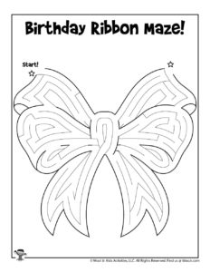Birthday Gift Bow Activity Maze for Kids