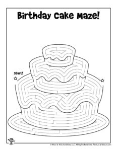 Birthday Cake Maze Worksheet for Kids