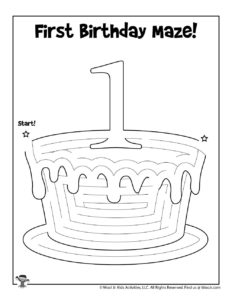 First Birthday Cake Maze Puzzle Activity Page