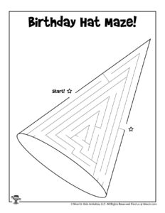 Birthday Party Hat Maze Coloring Page for Kids