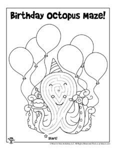 Birthday Printable Maze Activity Page
