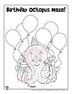 Birthday Octopus Activity Page for Kids - KEY
