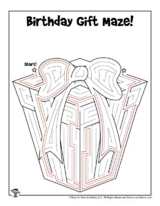 Birthday Gift Maze Puzzle to Print - KEY