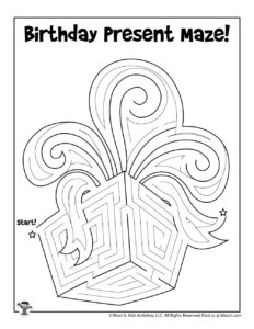 Birthday Present Maze Activity Sheet to Print