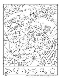 Cute Bugs Hidden Picture Printable Worksheet