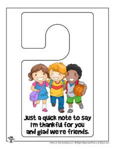 Thankful Friendship Door Hanger to Print