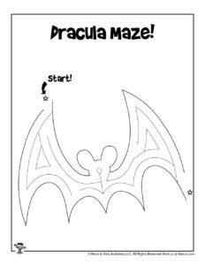 Dracula Printable Maze for Kids