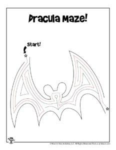 Dracula Easy Maze Worksheet - KEY