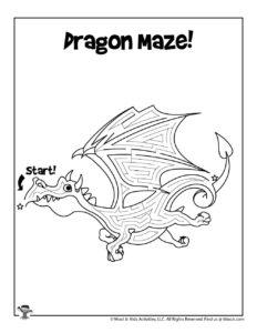 Dragon Maze Puzzle to Print
