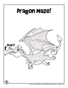 Dragon Difficult Fantasy Maze Activity Page - KEY
