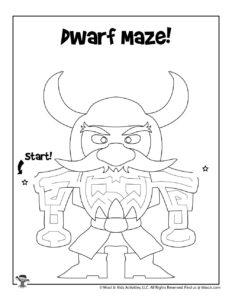 Dwarf Fantasy Maze Coloring Worksheet