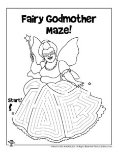 Fairy Godmother Coloring Maze for Kids