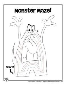 Monster Maze Puzzle Worksheet - ANSWER KEY