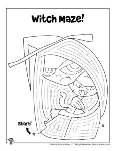 Witch Fantasy Maze Coloring Page for Kids