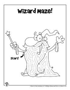 Wizard Printable Coloring Page Maze
