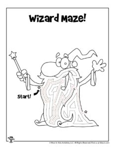 Wizard Printable Coloring Maze for Kids - KEY