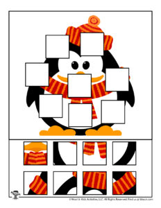 Penguin Printable Jigsaw Puzzle Activity for Kids