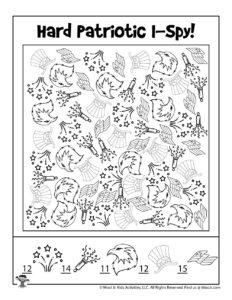 Patriotic I Spy Coloring Page - KEY