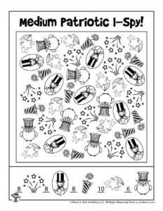I Spy Printable Activity Worksheet - KEY