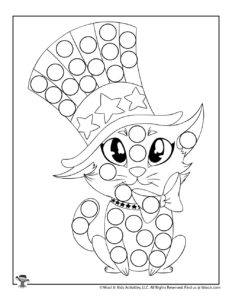 Patriotic Holiday Do a Dot Printable Coloring Page for Kids