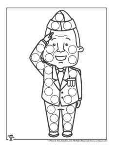 Saluting Soldier do a Dot Art Coloring Page for Kids
