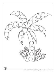 Palm Tree Printable Summer Dot Coloring Page