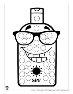 Sun Screen Self Care Dot Marker Coloring Page