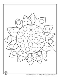 Summer Sunflower Dot Marker Coloring Page