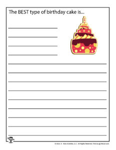 Birthday Creative Writing Pages for Kids