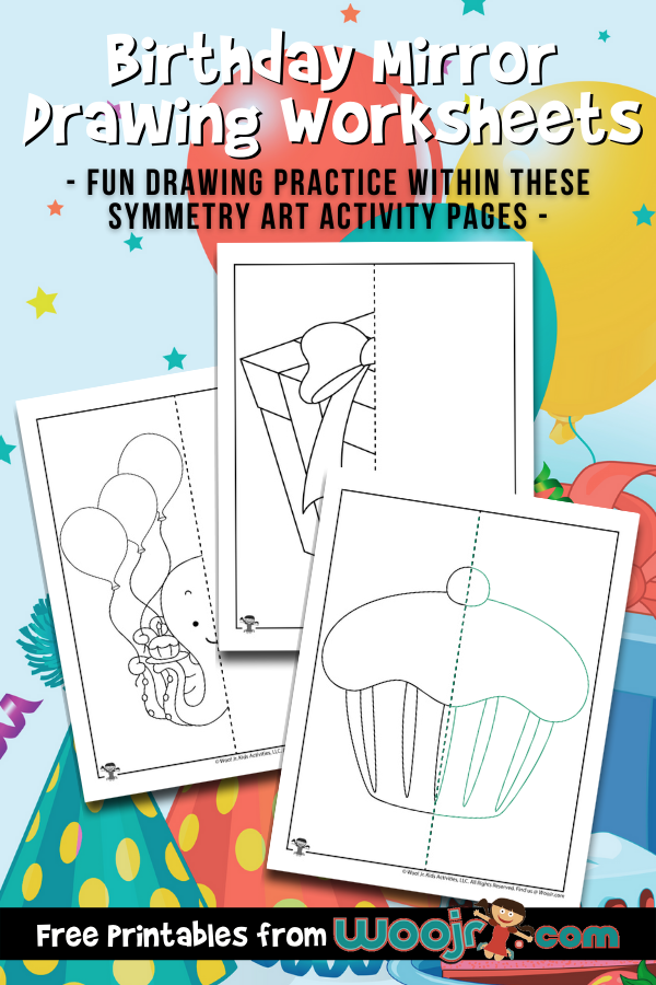 Birthday Mirror Drawing Worksheets