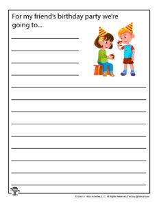 Grade School Writing Prompt Worksheets