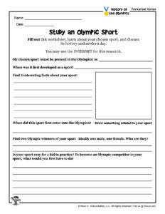 Study Olympic Sports Printable Activity