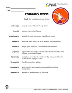 Olympic Games History Vocab - ANSWER KEY