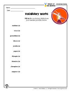 Olympics Vocabulary Words Worksheet