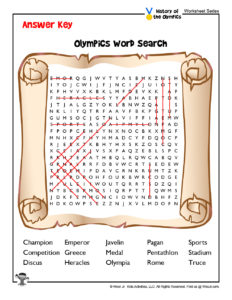 Olympic Games Free Word Search - KEY