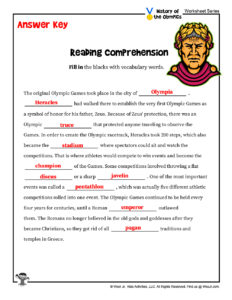 Olympics Lesson Reading Comprehension - KEY