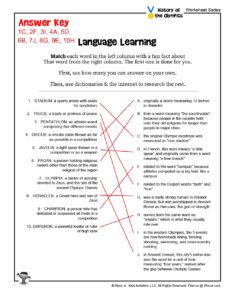 Olympics Language Learning Worksheet - KEY