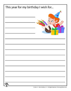 School Birthday Party Writing Worksheets